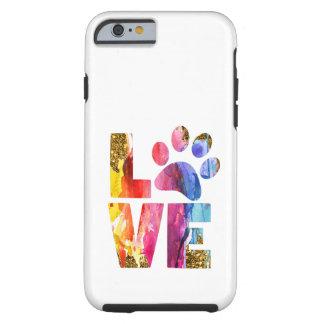 Capa Tough Para iPhone 6 Pata do amante do cão do gato. Arte da aguarela