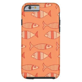 Capa Tough Para iPhone 6 Peixes modernos retros, laranja coral clara &