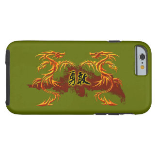 Capa Tough Para iPhone 6 phonecase, 2 dragões, fogo, símbolo chinês bravo
