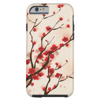 Capa Tough Para iPhone 6 Pintura asiática do estilo, flor da ameixa no