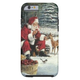 Capa Tough Para iPhone 6 Pintura de Papai Noel - arte do Natal