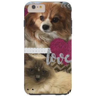 Capa Tough Para iPhone 6 Plus Amor do gato e do cão