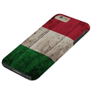 Capa Tough Para iPhone 6 Plus Bandeira de Italia na grão de madeira velha