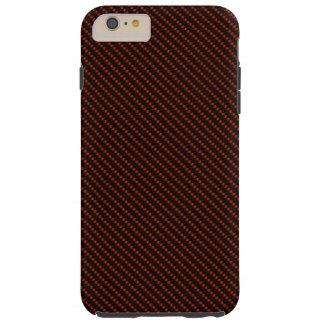 Capa Tough Para iPhone 6 Plus Base vermelha & preta da fibra