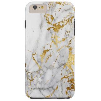 Capa Tough Para iPhone 6 Plus Branco e tensão de mármore do teste padrão do ouro