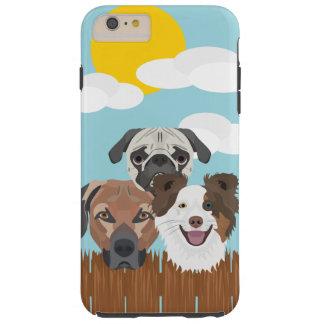 Capa Tough Para iPhone 6 Plus Cães afortunados da ilustração em uma cerca de