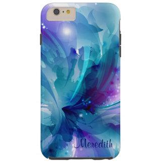 Capa Tough Para iPhone 6 Plus Caixa abstrata bonito azul & do roxo da flor do