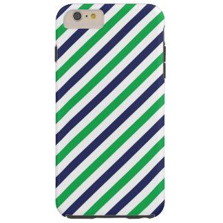 Capa Tough Para iPhone 6 Plus Caixa azul & verde do iPhone 6/6s da listra