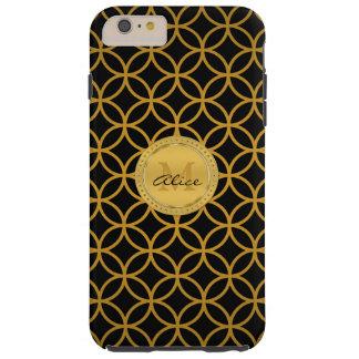 Capa Tough Para iPhone 6 Plus Círculos abstratos elegantes do ouro preto