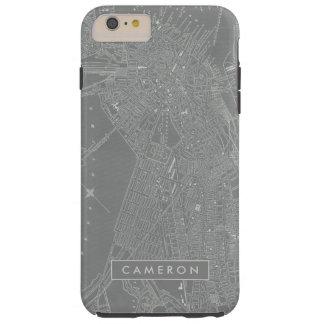 Capa Tough Para iPhone 6 Plus Esboço do mapa da cidade de Boston