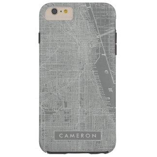 Capa Tough Para iPhone 6 Plus Esboço do mapa da cidade de Chicago