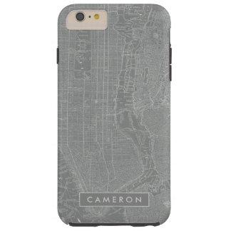 Capa Tough Para iPhone 6 Plus Esboço do mapa da Nova Iorque