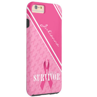 Capa Tough Para iPhone 6 Plus Fita orgulhosa do rosa do sobrevivente do cancro