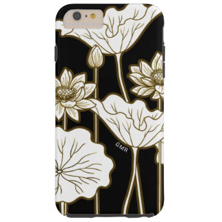 Capa Tough Para iPhone 6 Plus Flores brancas grandes no preto com guarnição