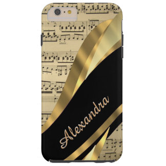 Capa Tough Para iPhone 6 Plus Folha de música elegante personalizada
