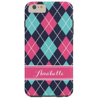 Capa Tough Para iPhone 6 Plus Monograma formal cor-de-rosa de Argyle de turquesa