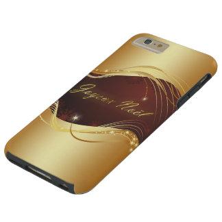 Capa Tough Para iPhone 6 Plus Motriz dourado do Natal com fundo vermelho…