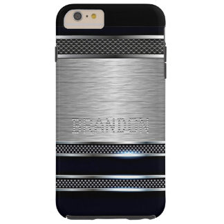 Capa Tough Para iPhone 6 Plus O metal brilhante do falso moderno feito sob