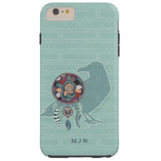 Capa Tough Para iPhone 6 Plus O nativo americano Monogrammed do corvo na cerceta