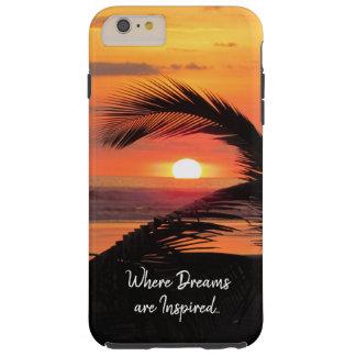 Capa Tough Para iPhone 6 Plus Opinião tropical da praia do por do sol