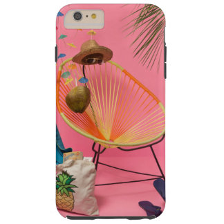 Capa Tough Para iPhone 6 Plus Praia moderna tropical setup no rosa