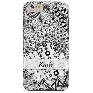 Capa Tough Para iPhone 6 Plus Preto personalizado & branco Doodled, emaranhado