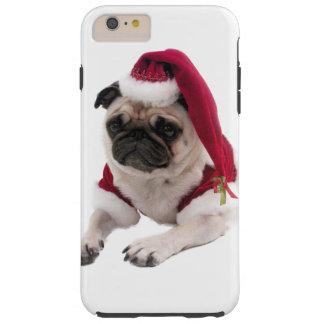 Capa Tough Para iPhone 6 Plus Pug do Natal - cão de Papai Noel - persiga claus