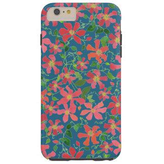 Capa Tough Para iPhone 6 Plus Rosa do Clematis, vermelho, floral alaranjado no