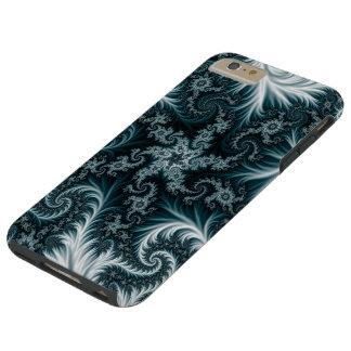 Capa Tough Para iPhone 6 Plus Teste padrão ciano e branco do fractal