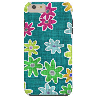 Capa Tough Para iPhone 6 Plus Teste padrão floral de matéria têxtil do falso