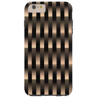 Capa Tough Para iPhone 6 Plus Teste padrão metálico de cobre vermelho do Weave