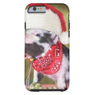 Capa Tough Para iPhone 6 Porco Papai Noel - porco do Natal - leitão
