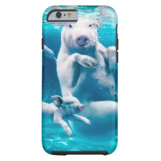Capa Tough Para iPhone 6 Praia do porco - porcos da natação - porco