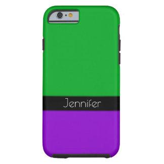Capa Tough Para iPhone 6 Preto, verde & roxo personalizados com seu nome
