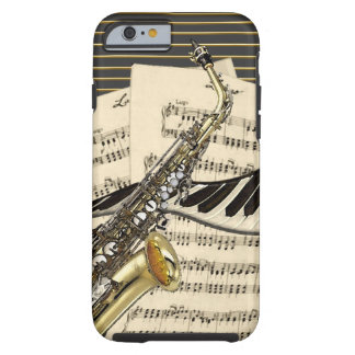 Capa Tough Para iPhone 6 Saxofone & música do piano
