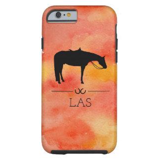 Capa Tough Para iPhone 6 Silhueta ocidental preta do cavalo na aguarela