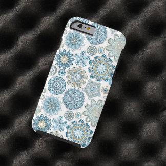 Capa Tough Para iPhone 6 Teste padrão azul dos flocos da neve da fantasia