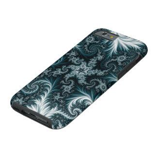 Capa Tough Para iPhone 6 Teste padrão ciano e branco do fractal