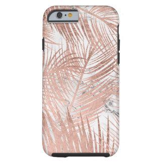 Capa Tough Para iPhone 6 Teste padrão cor-de-rosa do mármore da folha da