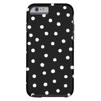 Capa Tough Para iPhone 6 Teste padrão de pontos preto e branco dos confetes