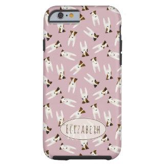 Capa Tough Para iPhone 6 Teste padrão lunático de Jack Russells com rosa