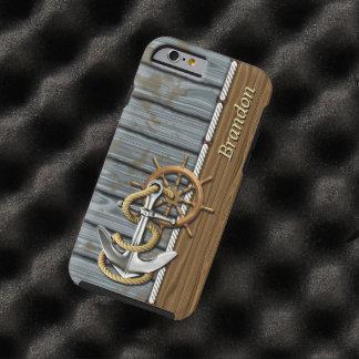 Capa Tough Para iPhone 6 Teste padrão náutico da madeira da âncora da roda
