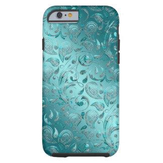 Capa Tough Para iPhone 6 Turquesa brilhante de Paisley