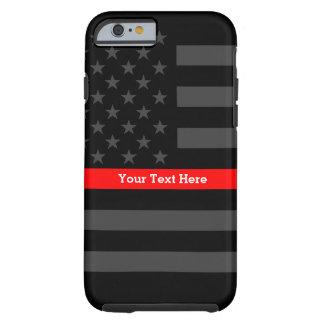 Capa Tough Para iPhone 6 Uma linha vermelha fina bandeira dos E.U. a