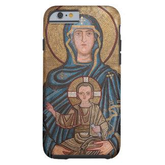 Capa Tough Para iPhone 6 Virgem Maria e mosaico de Jesus