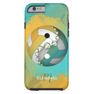 Capa Tough Para iPhone 6 voleibol do yinyang do ouro de turquesa seu nome