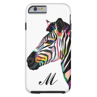 Capa Tough Para iPhone 6 Zebra colorida do pop art Monogrammed