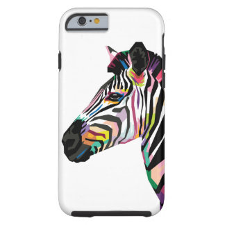 Capa Tough Para iPhone 6 Zebra colorida do pop art no fundo branco