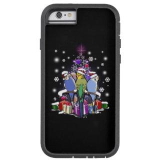 Capa Tough Xtreme Para iPhone 6 Budgerigars com presente e flocos de neve do Natal