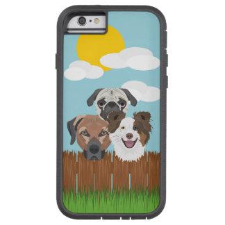 Capa Tough Xtreme Para iPhone 6 Cães afortunados da ilustração em uma cerca de